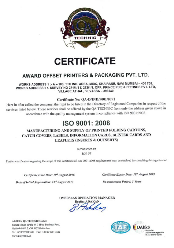AWARD OFFSET PRINTERS & PACKAGING PVT  LTD  Adds value to your